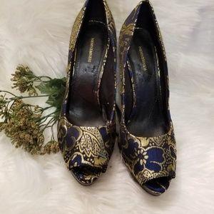H & M Blue & Gold Dressy 4.5 Heels platform Shoes